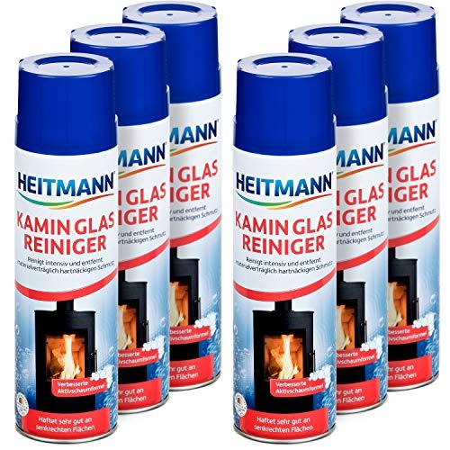 Heitmann Kamin Glas-Reiniger: Aktivschaum für hartnäckigen Schmutz, Kaminreiniger, Entrußer, Ofenreiniger 6×500 ml Dose