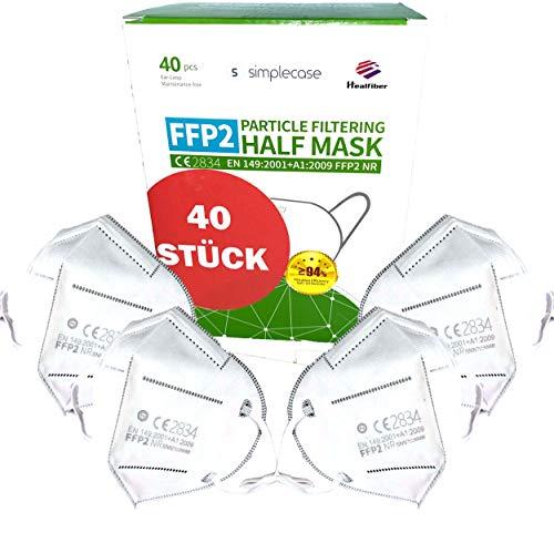 Simplecase FFP2 Maske, Atemschutzmaske, Partikelfiltermaske, EU CE Zertifiziert von Offiziell benannter Stelle CE2834 - 40 Stück, WEIß MS-2004-20212